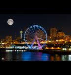 Seattle Great Wheel At Dark